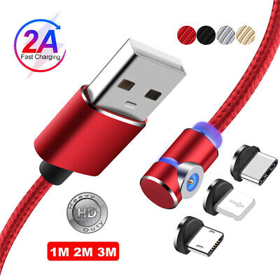 1M 2M 90 Degree Magnetic Micro USB Lightning Charger Cable For iPhone 7 Samsung