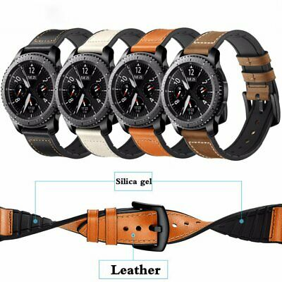 Silicone + Leather Band Strap For Samsung Galaxy watch 46 42mm Active Gear S3