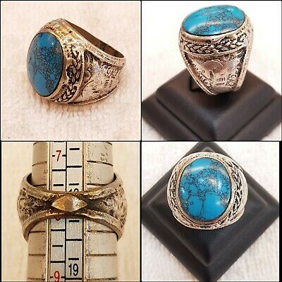 Very Rare Egyptian Wonderful Old Turquoise Stone With Silver Old Medieval Ring