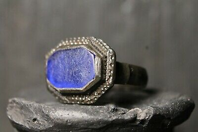 Rare Ancient Viking Bronze Blue Stone Ring , Antique Engraved, 6-11 Century AD.
