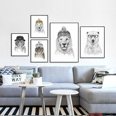ALS_ Animal Canvas Painting Poster Wall Art Unframed Picture Kids Room Decor Nov