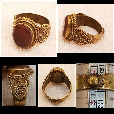 Gold Gulied Wonderful Afghanistan Ring With Beautiful Natural Old Agate Stone