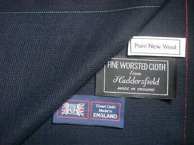 100/% WOOL SUITING FABRIC VINTAGE STYLE DK NAVY,RIB WEAVE MADE IN ENGLAND 3.5M