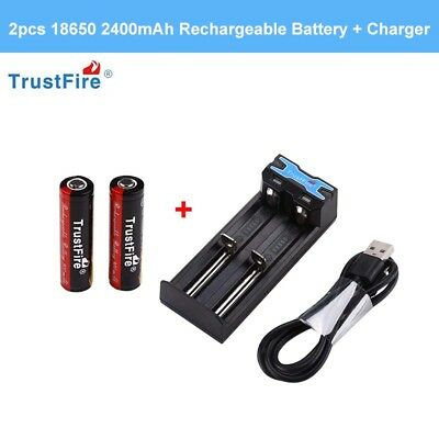 2Pcs 18650 2400mAh Rechargeable 3.7V Li-ion Battery w/Protected+ Charger Adapter