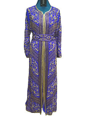 Traditional Farasha Bling Embroidered Palestinian Kaftan Robe  Party Gown  6658
