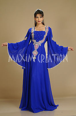 African Kaftan Hand Embroidery Bling Royal Blue Lawn Evening Tea Party Gown 3059