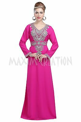 French Soire Robe Hand Embroidery Designer Abaya Moroccan Caftan For Ladies 6139