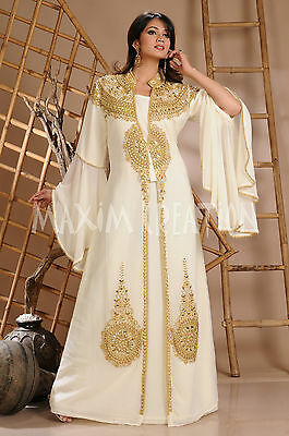 Royal Swedish Hand Embroidered Moroccan Takchita Cocktail Party Maxi Dress 3124
