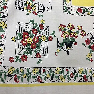 "Vintage 50s 60s Tablecloth Red Yellow Green White Flowers Cage Clock 43"" x 47"""