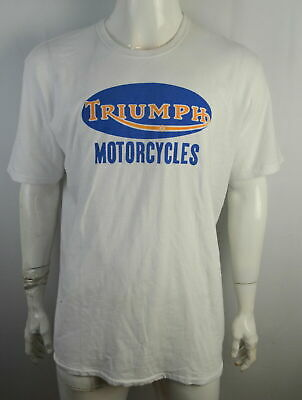 67a729b9 Lucky Brand Triumph Motorcycles T-shirt Men's L Badge Graphic tee White NWT