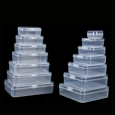Clear Plastic Box Case For Jewelry Beads Craft Screw Tools Parts Storage 17 Size