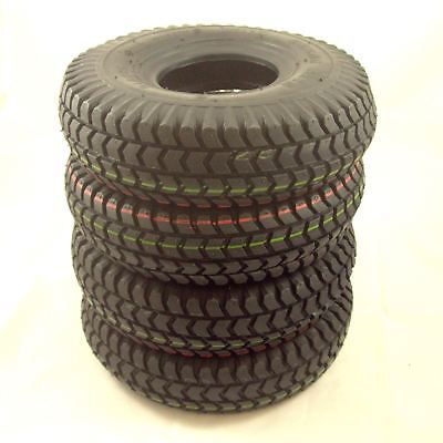 4 x Black Block Tread Pneumatic Mobility Scooter Tyres 3.00-4 (300x4 260x85)