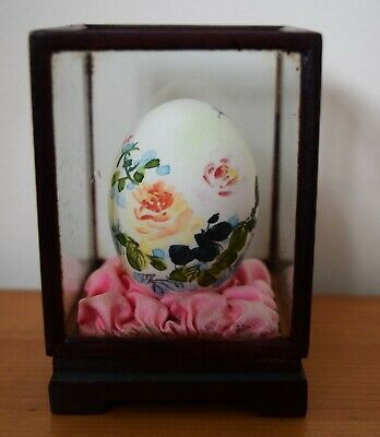 Vintage Hand Painted Japanese Quail Egg in Mahogany and Glass Display Case