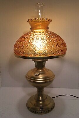 Fenton Amber Glass-Star Diamond Shade & Mantle Lamp Co Converted Oil Lamp #5