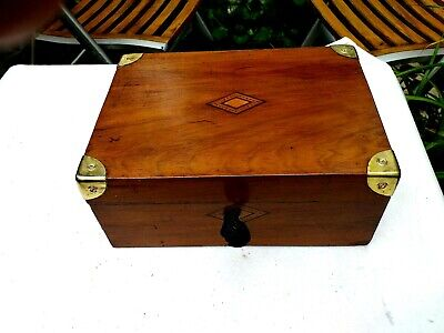 Small Antique  Writing slope With Working Lock &key &a  glass inkwell tunbridge