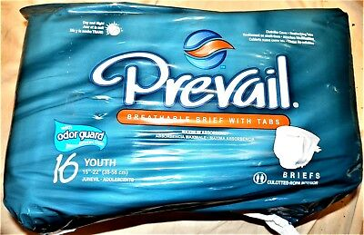 "(4 PACK) Prevail 16 Youth 15""-22"" Sized Briefs: Maximum Absorbency (4 PACK) NEW"