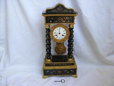 Antique French Inlaid Wood Portico Clock,Working Order,Napoleon Iii.