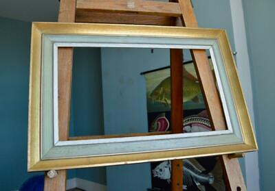 """SUPERB ANTIQUE 60s PICTURE FRAME 22"""" X 13"""" REBATE vABSTRACT PAINTING Mid-Century"""