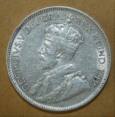 Canada 25 Cents 1919 Very Fine + / Extremely Fine Silver Coin - King George V