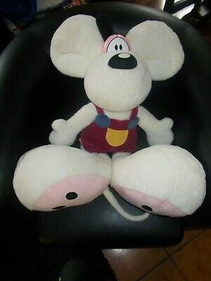 GRANDE Peluche souris blanche DIDDL 70 cm salopette rose super soft