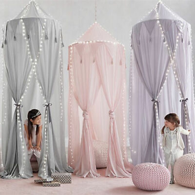 Kids Bedroom Canopy Bedcover Mosquito Net Curtain Bedding Round Dome Tent Cotton