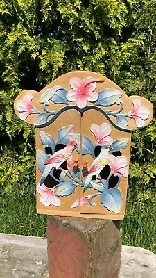 Beautiful Vintage Hand Made Wooden Cupboard With Decorative Bird Design *