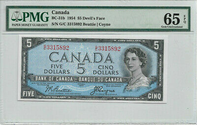 GEM-65 EPQ 1954 Devils Face $5 Bank of Canada Beattie-Coyne PMG Graded GEM65