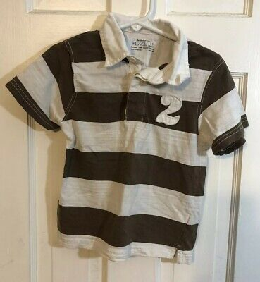 The Childrens Place Toddler Boys Polo Shirt Striped Brown & White Sz 24 Mo
