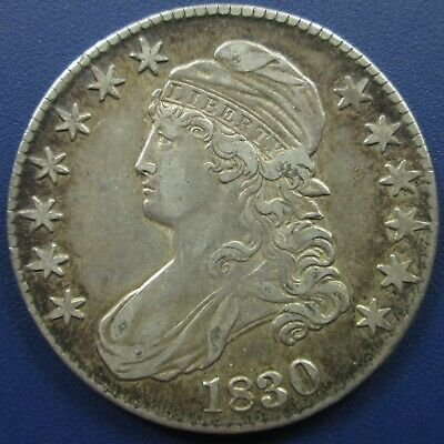 1830 Capped Bust Silver Half Dollar, Large 0 - XF