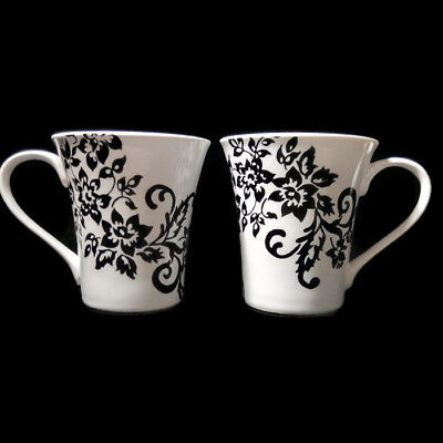 222 Fifth Toulouse Black & White Floral Latte Coffee Mugs Set of 2