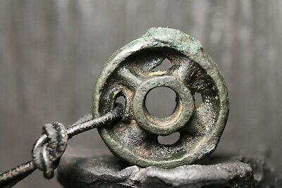 Rare Ancient Viking Bronze Amulet Wheel, Antique Pendant, 3th-9th Century AD.