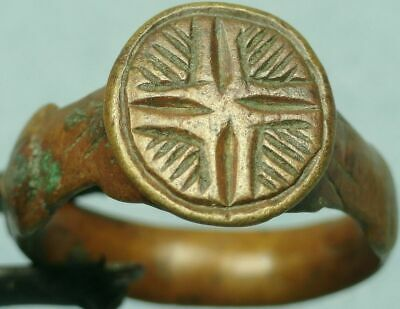 BYZANTINE BRONZE RING size 8.75, HALOED CROSS  #BBR8.75