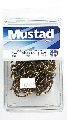 Mustad 94151-NI-3//0-100 Classic O/'Shaughnessy Live Bait Hook Size