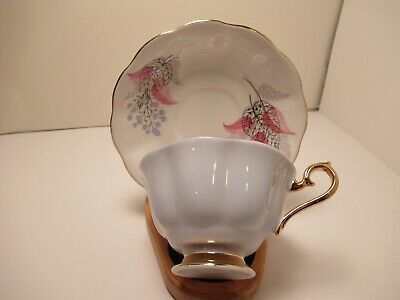 Royal Albert English China Footed Tea Cup & Saucer White Mauve Pink  Very Pretty
