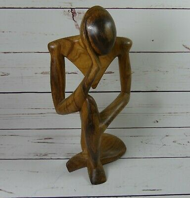 """Art Abstract Hand Carved Solid Wood Thinker Figurine Sculpture 12"""" Tall"""