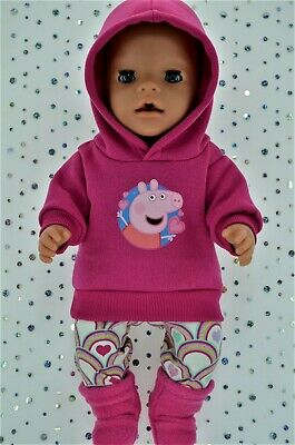 """Play n Wear Dolls Clothes To Fit 17"""" Baby Born HOT PINK HOODIE~LEGGINGS~BOOTS"""