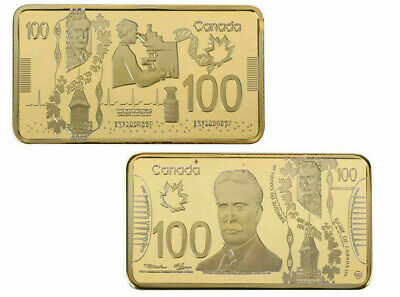 (1) 24KT GOLD Plated $100 BAR CANADA *NO TAX + FREE SHIP* CANADIAN SELLER
