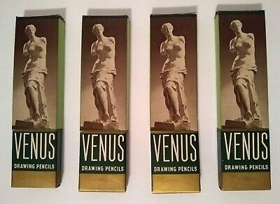 4 Boxes Vintage Venus Drawing Pencils 3 H, 3800 Hard One Incomplete, See Listing