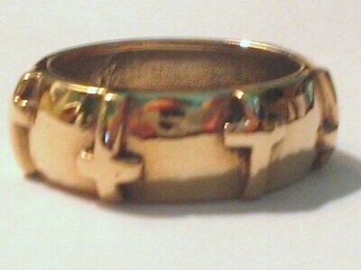 Gold plate 925 STERLING Wedding 7.5mm Band Christian Crosses 5.6g RING SIZE 8