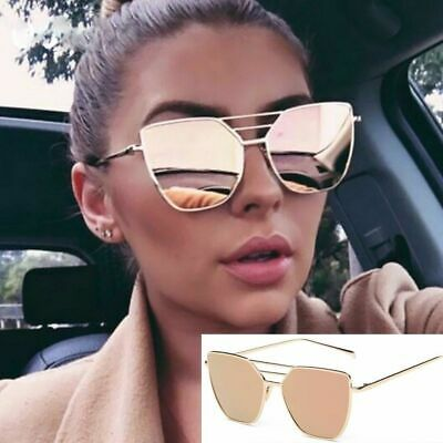 bac027739 Cat Eye Rose Gold Quality Womens Fashions Oversized Mirrored Retro  Sunglasses