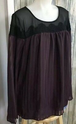 New TORRID Purple Black Lace Flowy Boho Top Blouse Shirt Plus 1X 14W 16W Womens