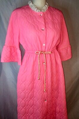 Vtg Robe Quilted HouseCoat MOD Bubble Buttons PINK CORAL Montgomery Ward L XL 18