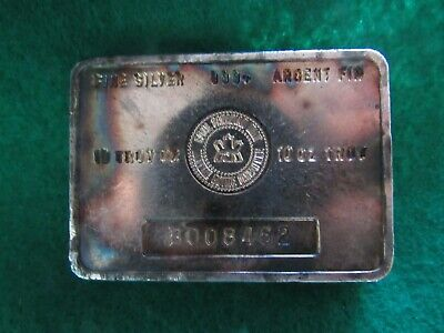 Scarce Vintage Royal Canadian Mint 10 Troy Oz .999 Silver Bar  Toned!