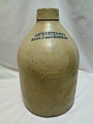 Old Salt Glazed Stoneware Pottery 2 Gallon Jug East Providence Rhode Island