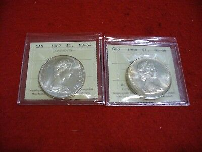 1966 1967   Canada  Silver  Dollar  Coin   I.c.c.s.   Graded   Ms-64   2   Coins