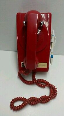 Red Modified ITT Cortelco 554 Rotary Dial Modular Wall Service Telephone Set