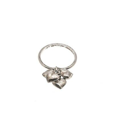 "Art Deco Sterling Silver ""Four Heart"" Charm Ring"