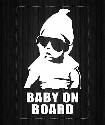 CAR  STICKER  REFLECTIVE    Baby on board , decal  AUSTRALIA  , white . kids.