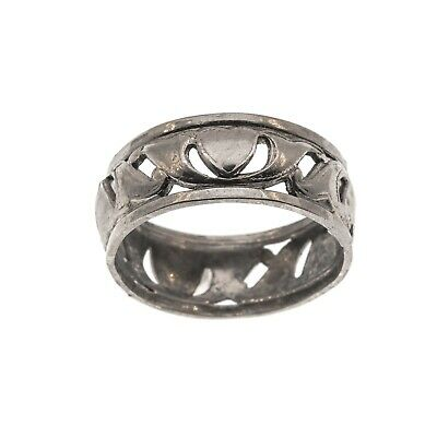 Art Deco Sterling Silver Pierced Heart Band Ring