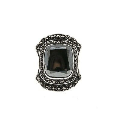 High Society - Art Deco Sterling Silver Hematite & Marcasite Ring